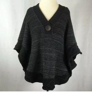 Free People Gray knit pancho sweater shrug xxs